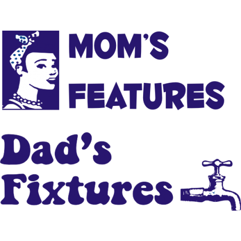Mom's Features, Dad's Fixtures Kids T-Shirt